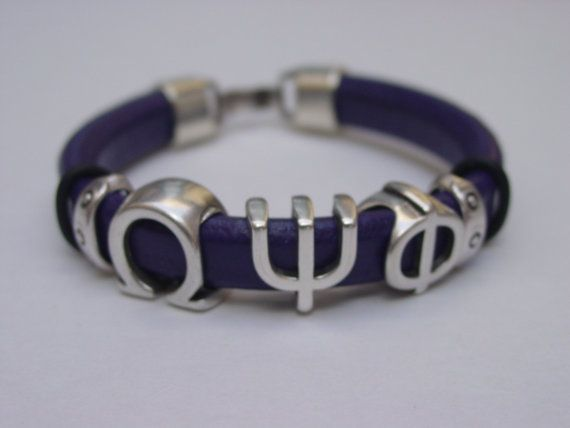 Omega Psi Phi Greek Sliding Letters Leather Handmade by LindosArt