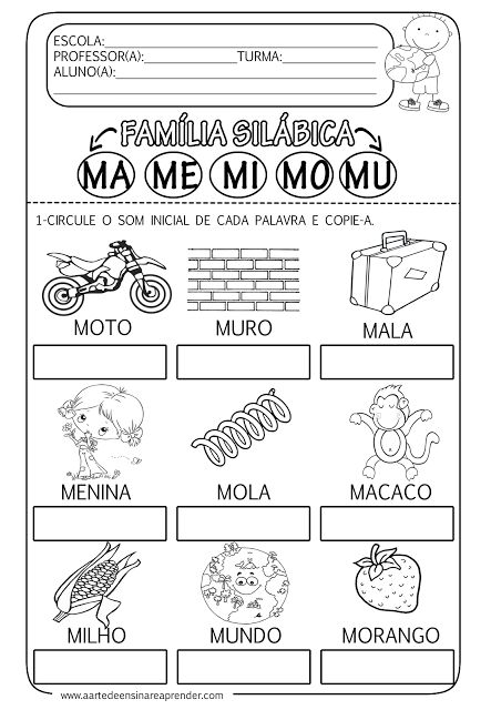 A Arte de Ensinar e Aprender: Atividade pronta - Família silábica do M