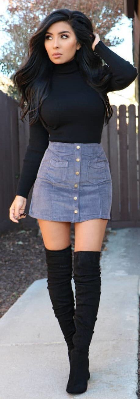 #winter #outfits black long-sleeve shirt and denim skirt #denimskirt #denimskirtoutif thigh high boots #kneehighbootsoutfit #winteroutfits