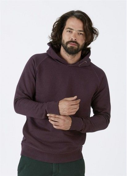 Toasty Boy hoodie in Heather Grape Red is fair trade and made from 85% organic cotton.