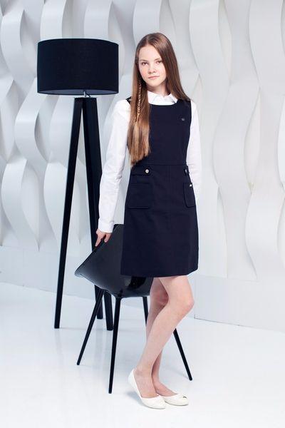 Школьная форма Choupette для девочки: сарафан чёрный, блузка. 1--11 класс
