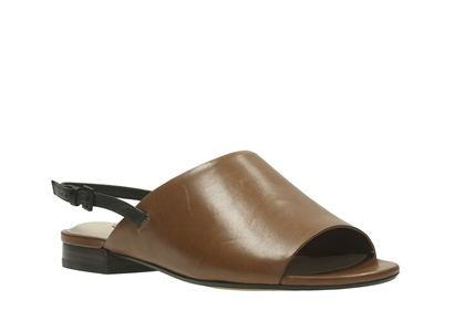 Clarks Sarafina Honey, Tan Leather, Womens Casual Sandals