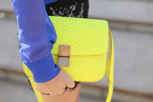 neon on neon    (via fashionflorence)Shoulder Bags, Bags Pretty, Pur Outfit, Hot Fashion, Colorstlc Waterfal, Neon Pastel, Neon Pur, Fashion Bloggers, Neon Yellow