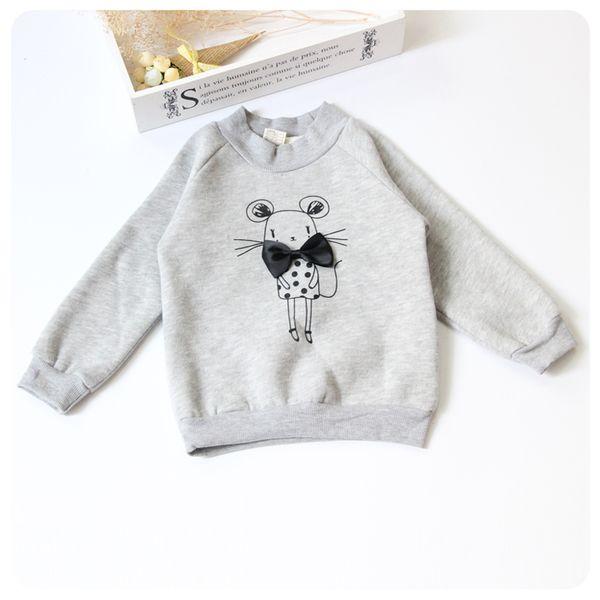 Корейская версия детская одежда 2016 зима новый мультфильм высокий воротник плюс бархат свободного покроя дна рубашки блузка девочки флис толстовка