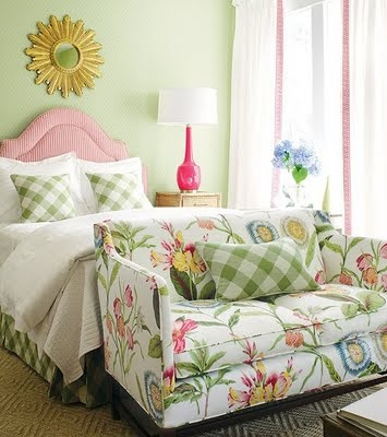 Pink & Green Bedroom - love the buffalo plaid/exploded gingham and the fabric on the loveseat