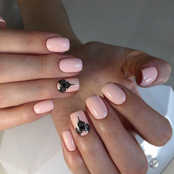 Beautiful nails 2017, Beautiful patterns on nails, Easy nail designs, Ethnic nails, Gentle gel polish for manicure, Gentle nails 2017, Half-moon nails ideas, Pale pink nails