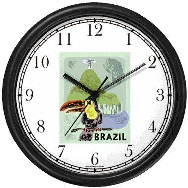 Special Offers - Toucan  Staute of Christ the Redeemer  Cristo Redentor  Corcovado Mountain  Rio de Janeiro Brazil  Brazilian  Famous Landmarks  Theme Wall Clock by WatchBuddy Timepieces (Hunter Green Frame) - In stock & Free Shipping. You can save more money! Check It (September 19 2016 at 08:55PM)…