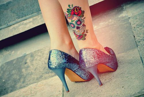 Cuuuuute, I love sugar skull tattoos. shoeenvy tattoo ink sugarskull