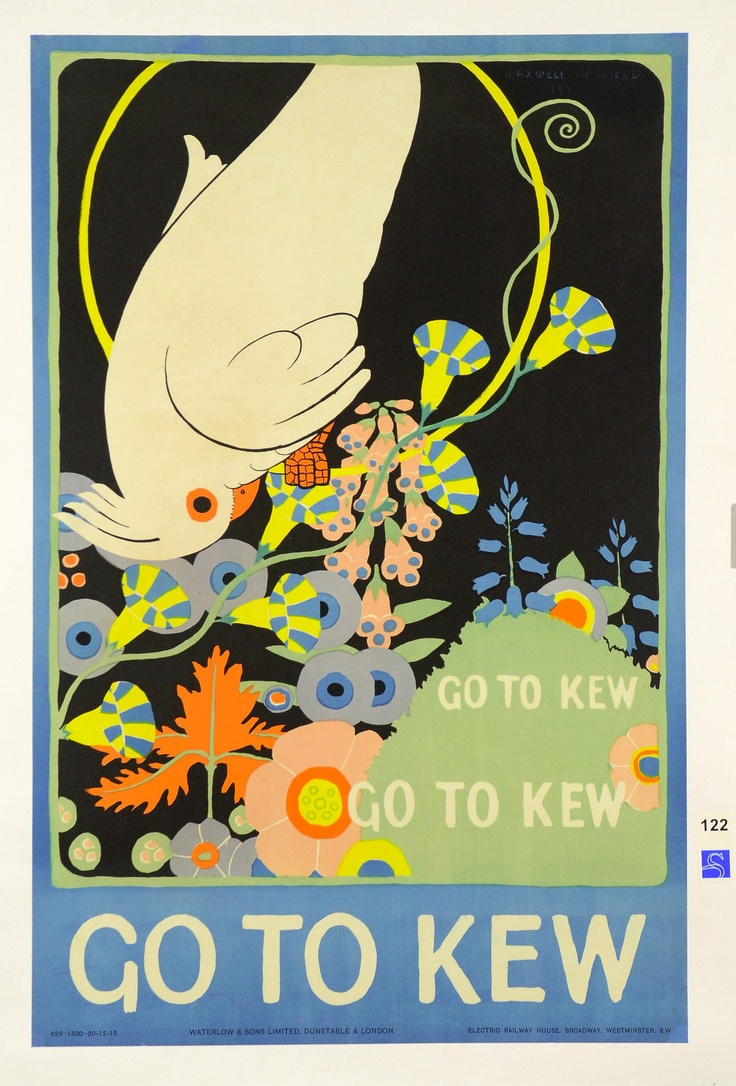 "Original Vintage English Poster ""Go to Kew"" by Maxwell Armfield 1915"