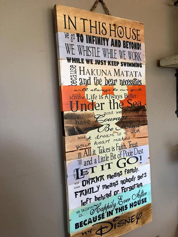 "I think this is my favorite Disney ""In this house."" Disney Quotes Family Rules Planked Wood by iSTICKerTHAT on Etsy"