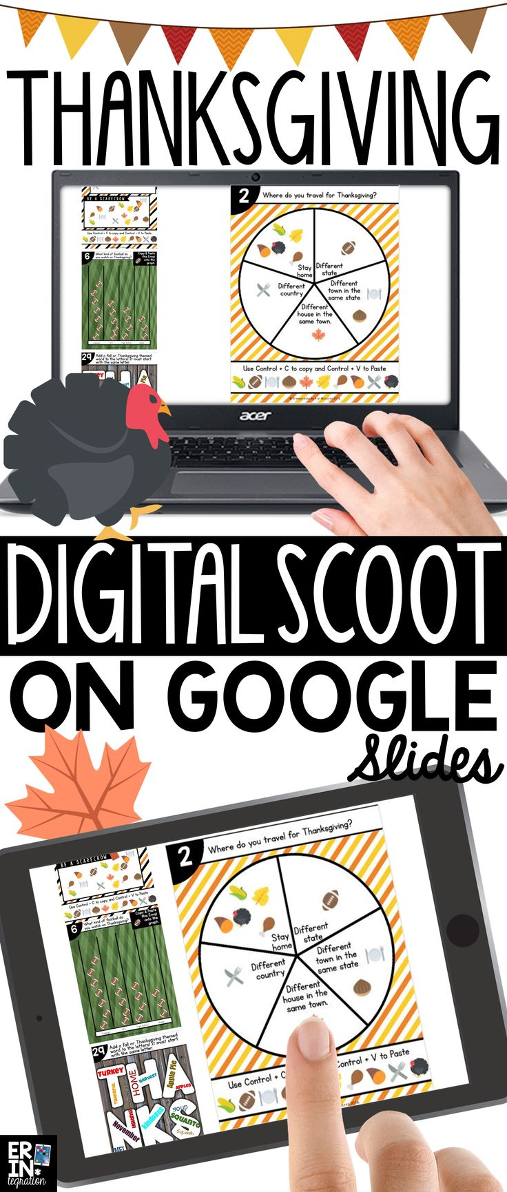 Google Slides Scoot game for Thanksgiving features a different question for students to answer with text, images, and/or a Thanksgiving Emoji! Google Scoot, digital scoot, Google apps lessons for kids, elementary google classroom activities, google classroom lesson plans, fall iPad activities, fall activities for the computer, Thanksgiving technology activities