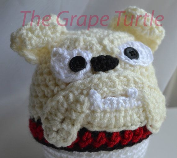 Free Pattern For Crochet Bulldog : Crochet Georgia Bulldog Hat, Girls Georgia Bulldog ...
