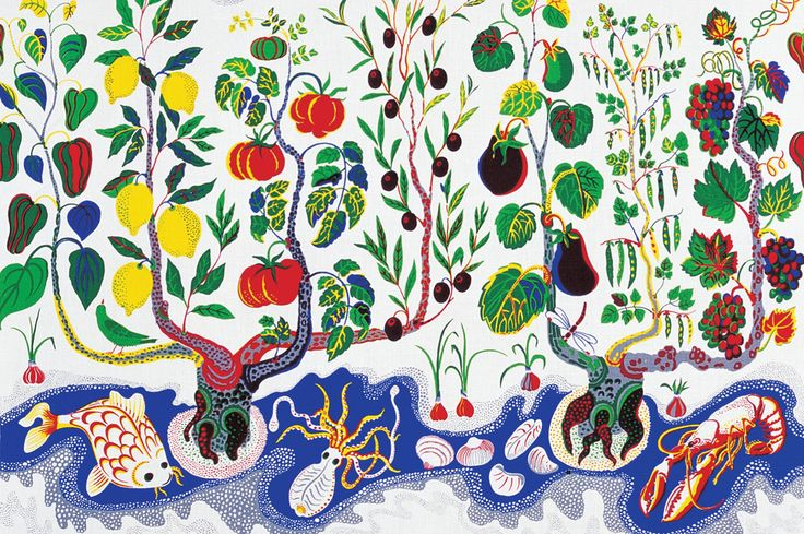 The pattern Italian Dinner was inspired by fruit and vegetable plants from Italy. Stems, leaves, fruit and vegetables as well as an olive branch adorn the tree branches in the vertical band of the pattern. The horizontal stream filled with yellow striped red mullet, squid, clams and lobster balances the pattern. The red mullet gained notoriety in antiquity for its beautiful colour and delicate taste. Josef Frank designed this pattern in 1943-1945.