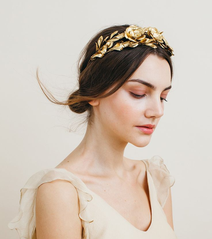 the Rowena Circlet by Jennifer Behr - hand crafted of delicate gold leaves and roses - a gorgeous wedding headpiece or for garden parties all summer see more styling suggestions at www.jenniferbehr.com