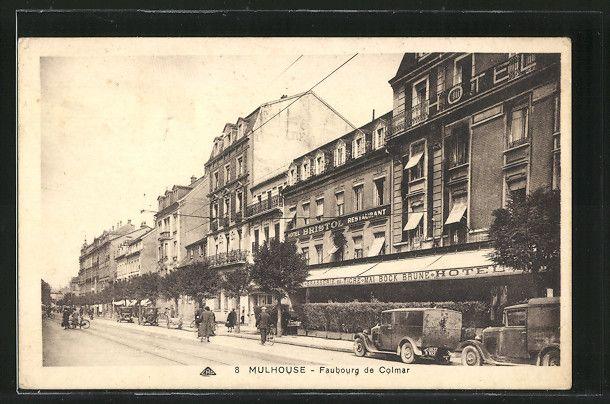 carte postale ancienne: CPA Mulhouse, Faubourg de Colmar et Hotel