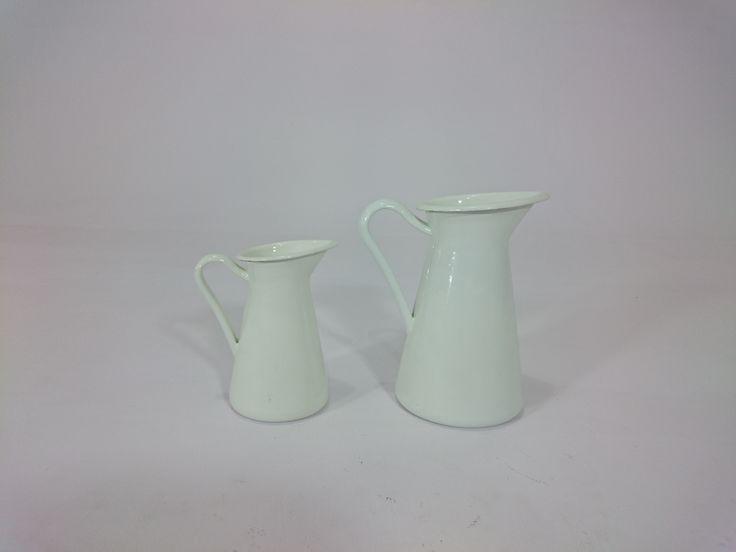 """PY-5163--White Glow Metal Milk Jar Large / Small -(H9""""XW7"""") / (H7""""XW5"""")"""