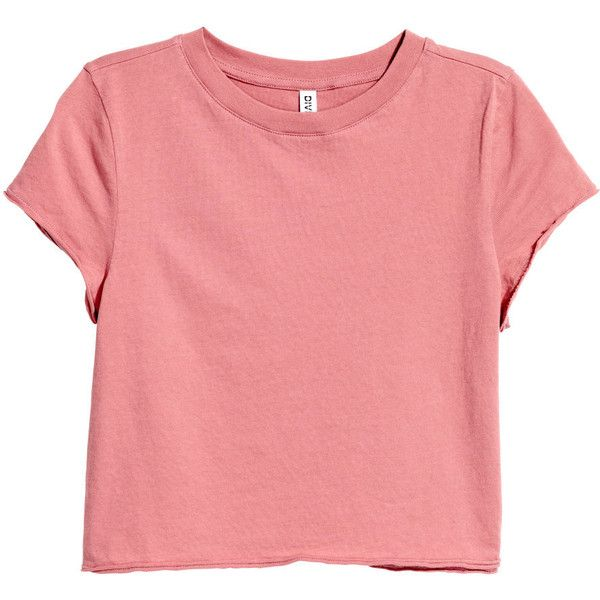 Kurzes T-Shirt 7,99 ($9.99) ❤ liked on Polyvore featuring tops, t-shirts, red tee, red top and red t shirt