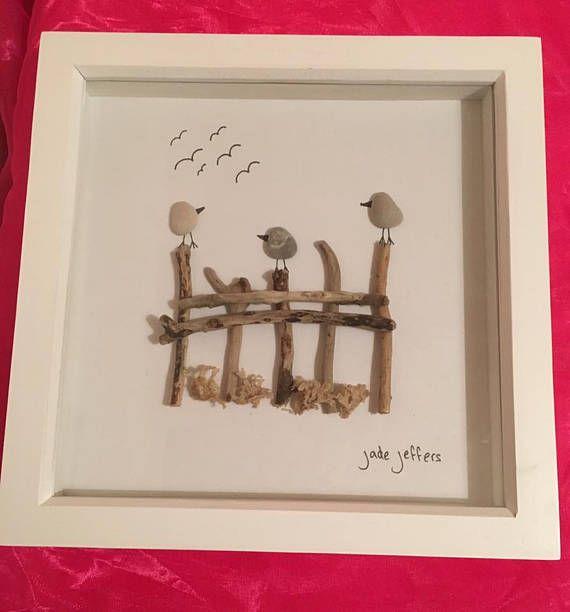 Birds Sitting On The Fence Pebble Art