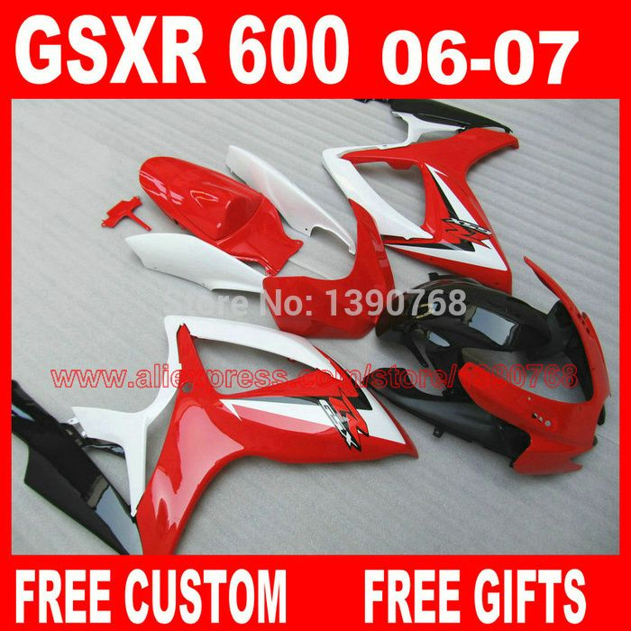 Fairing kits for SUZUKI K6 K7 gsxr600 gsxr750 06 07 red black white  GSXR 600 GSXR 750 2006 2007 fairings set CB22 #Affiliate