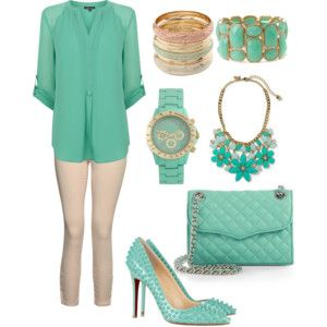 mint and beige outfit. with YSL high-heels.