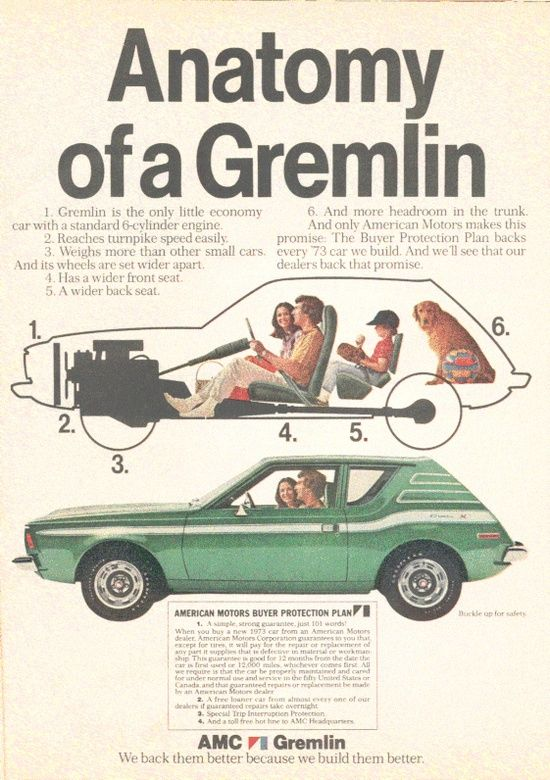 """1973 Gremlin cars advertisement // """"The Anatomy of a Gremlin"""""""