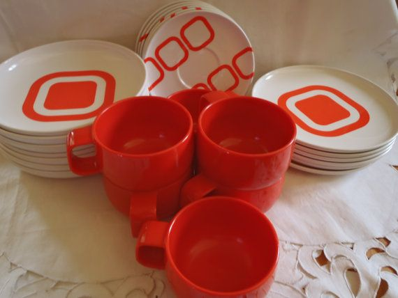 Melamine Dinnerware Set Orange And Atomic Style from Italy , Plates Mugs Saucers and Bowls in Orange Melamine https://www.etsy.com/ca/listing/216148872/melamine-dinnerware-set-orange-and?ref=shop_home_active_11