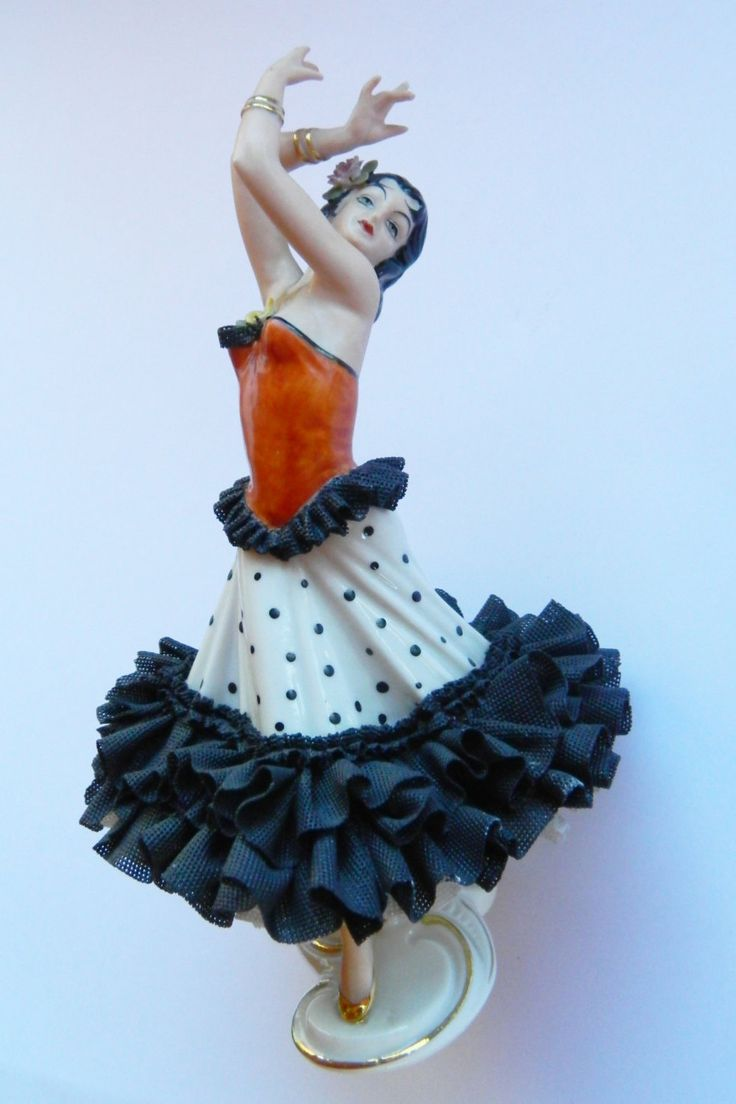Vintage Original Dresden Porcelain Lace Figurine  Dresden  Lace Figurine Dresden Spanish Flamengo Dancer 1950's by RetroBackyardSales on Etsy