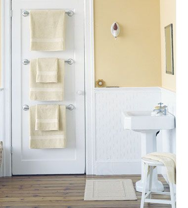 Click Pic for 30 Small Bathroom Ideas on a Budget | Door Hung Towel Rails | DIY Small Bathroom Remodel