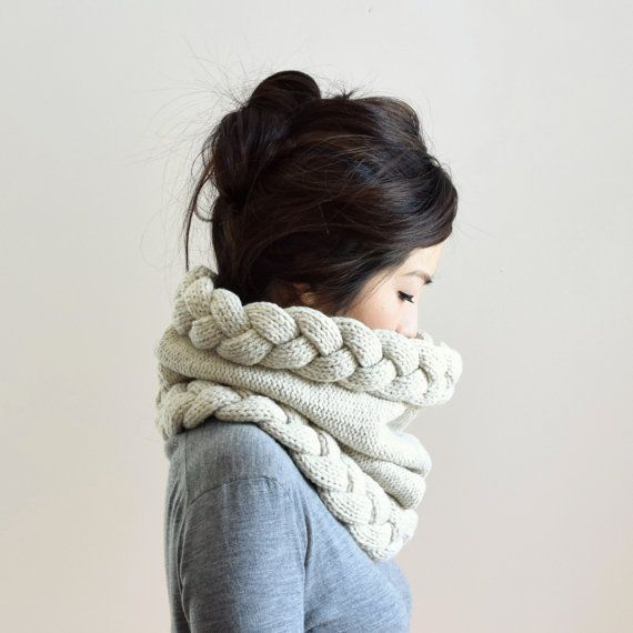 Chunky Cowl Hood Snood Scarf Oatmeal Wool Scarf Cable by IRISMINT