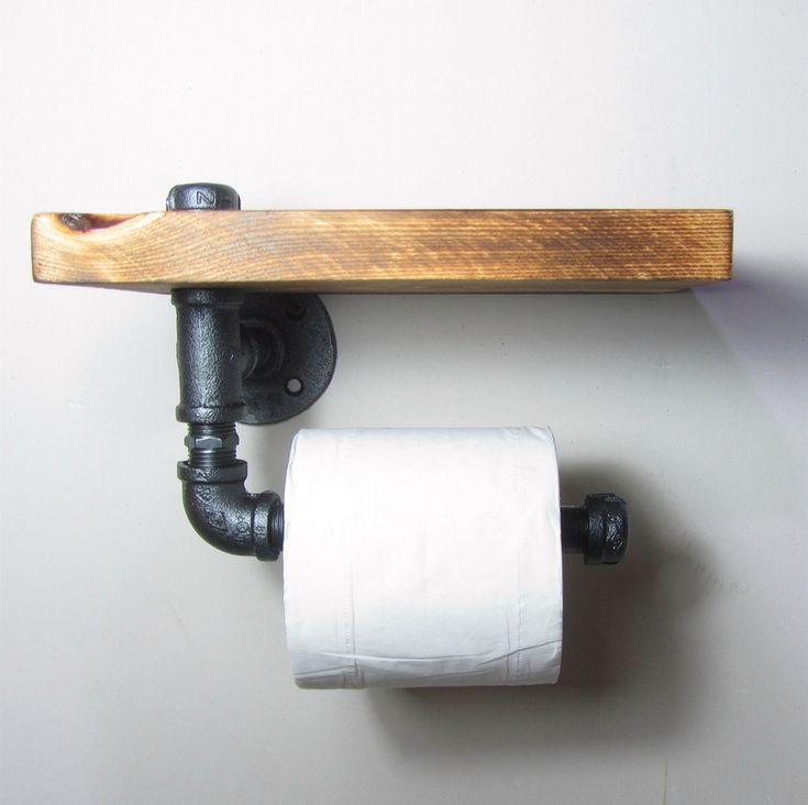 Industrial estilo urbano galvanizado tubo de aço de madeira recuperada titular rolo de papel higiénico toalha de banho rrack, Ttoilet Paper-J011(China (Mainland))