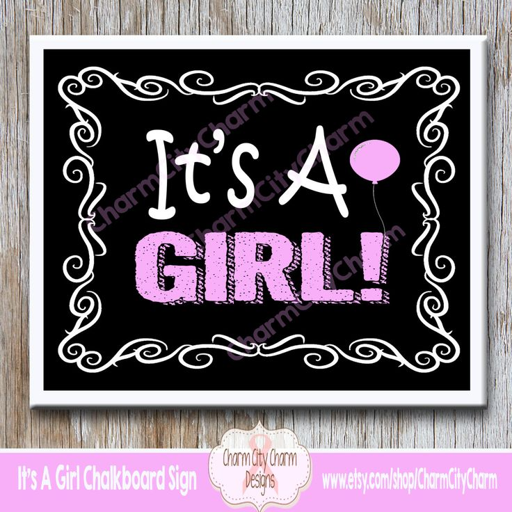 It's A Girl Chalkboard Sign, It's A Girl Gender Reveal Chalkboard, Gender Reveal Photo Prop, INSTANT DOWNLOAD by charmcitycharm on Etsy