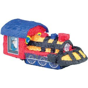 Choo Choo Train Bash Pinata by Amscan. $11.99. All aboard for the party fun! Here comes the choo choo train! This traditional style pinata will be a fantastic fun for all the family and the perfect game for a children's train theme birthday party. Just fill with sweet candies or soft toys and hang it