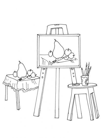 Thema kunst voor kleuters, kleurplaat / Art theme for preschool, coloring page