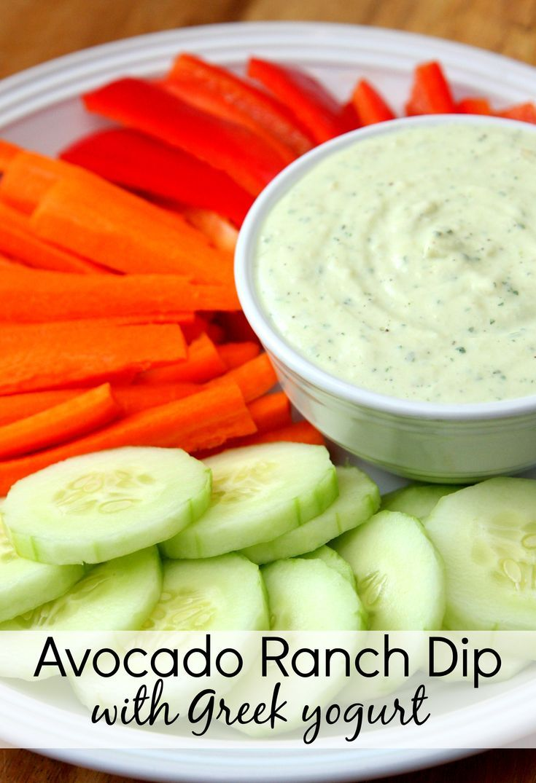 The best veggie dip ever! Avocado Ranch Dip with Greek Yogurt (ad)