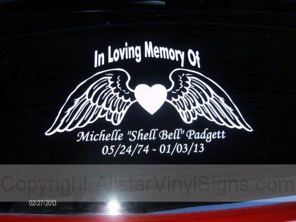 In Loving Memory Of Angel Wings Memorial Car Window Decals - Window decals in memory of