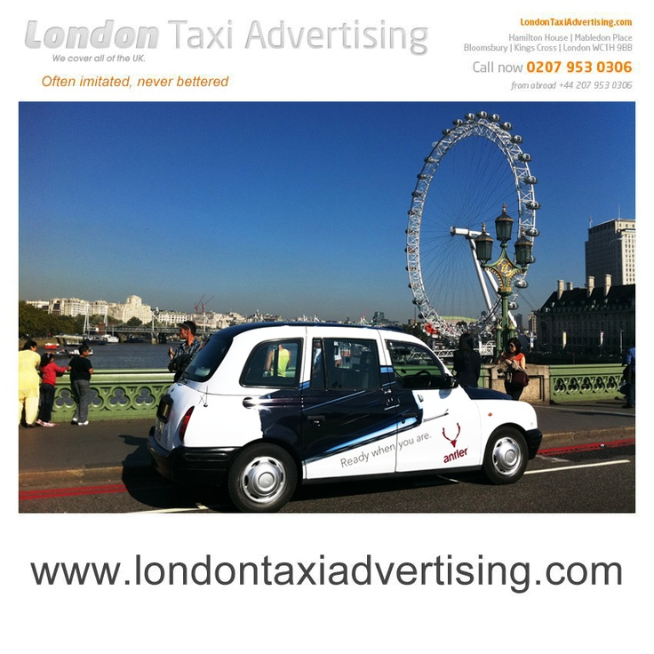 Full Livery Taxi Advertising campaign for Antler luggage in London #luggage #travel  http://www.londontaxiadvertising.com/