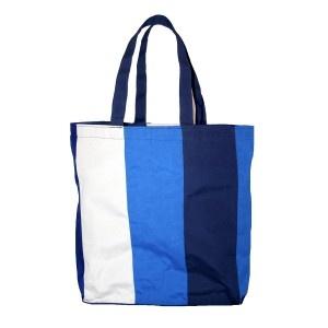 """Bolso multiuso """"Stripes azul 3"""". Hecho de lona náutica. Diseñado y fabricado por Decosta."""