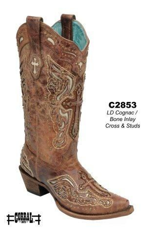 Corral Cognac/Bone Inlay Cross & Studs Women's Cowgirl Boots - HeadWest Outfitters
