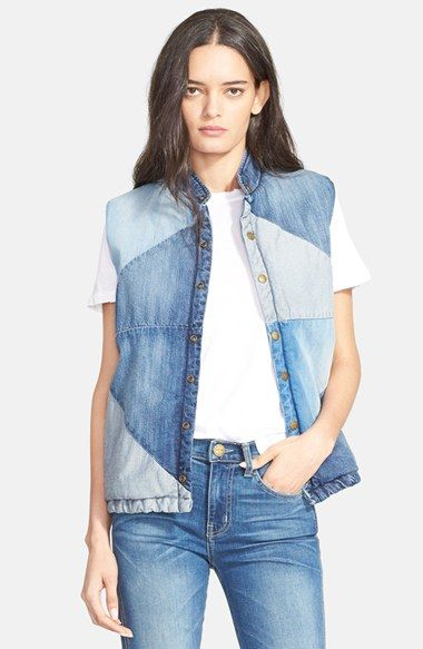 Current/Elliott 'The Patchwork' Denim Puffer Vest available at #Nordstrom