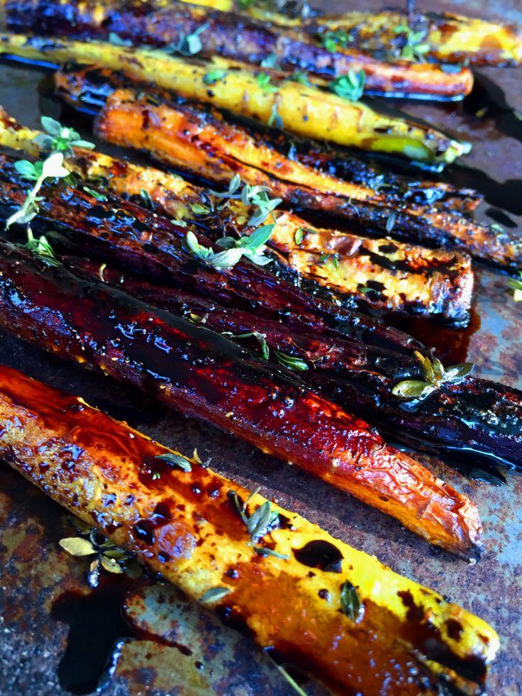 Roasted Rainbow Carrots with Thyme & Balsamic Glaze