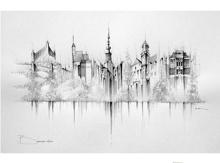 Bratislava kresba panoráma