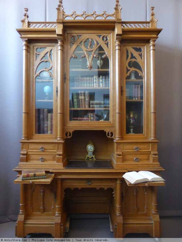 biblioth que de ch teau style n o gothique achille proy. Black Bedroom Furniture Sets. Home Design Ideas