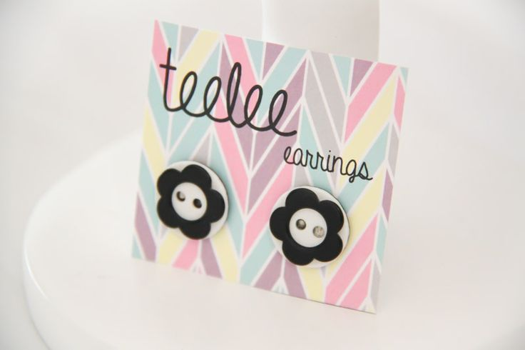 Black & White Flower Button Earrings - Teelee - A Bits & Bobs Brand