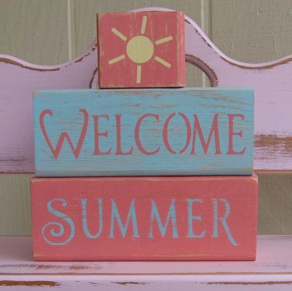 Chunky Wooden Blocks- Welcome Summer- Room Decor. $18.00, via Etsy.
