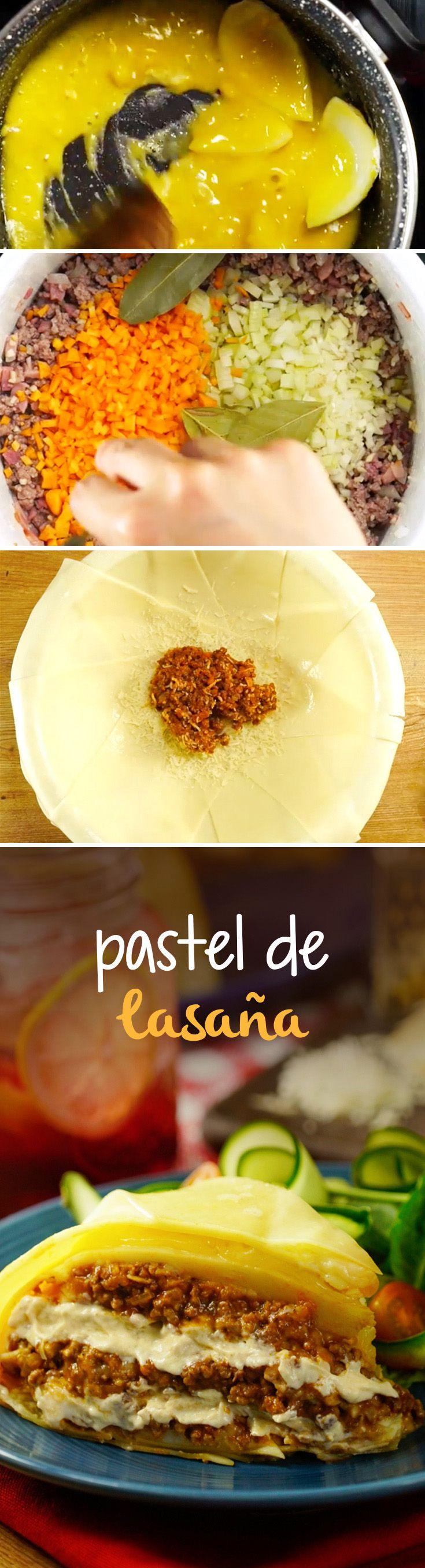 Pastel hecho de láminas de lasaña relleno de carne molida. Dale un giro a la lasaña tradicional con esta receta.