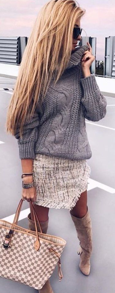 #winter #outfits  knitted gray turtle neck sweater. Pic by @_luxury_fashion_style.