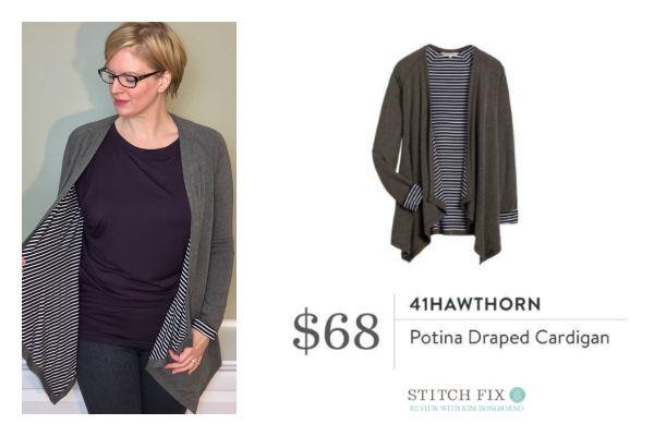 Stitch Fix 41Hawthorn Potina Draped Cardigan in Dark Grey with Navy and White Stripes | #stitchfix review by @letmestart