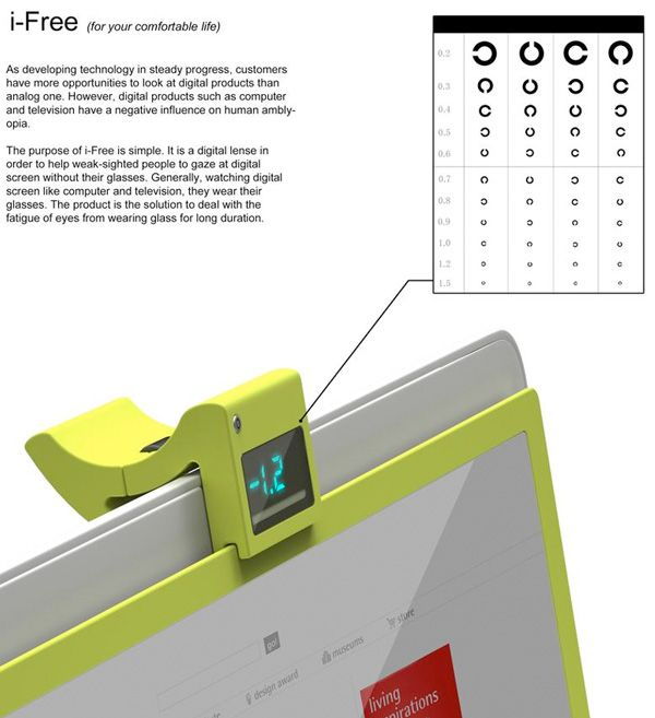 i-Free – Digital Eyesight Correction Screen by Jongwoo Choi - This auto-correcting screen portrays images according to the prescription number you have. This ways you strain your eyes lesser and it helps your vision in the long run. i-Free is a 2013 iF Design Award winner. | Yanko Design