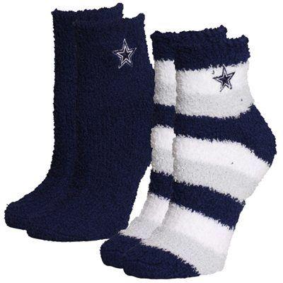 For Bare Feet Dallas Cowboys Women's Slippers 2-Pack Socks