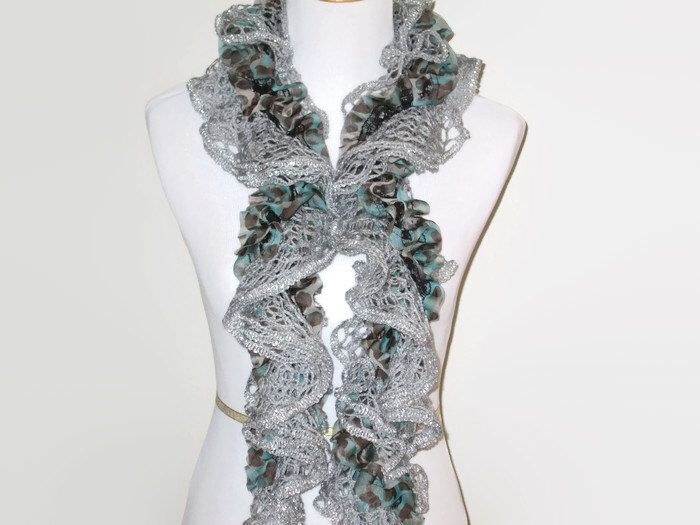 A personal favorite from my Etsy shop https://www.etsy.com/listing/189113857/ruffle-scarf-graysilveraqua-womens-hand